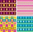 Stripes and dots fabrics zig-zags flowers seamless background