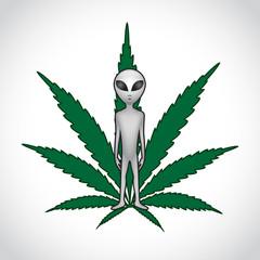 ET and cannabis leaf. Vector