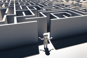 ratloses Männchen vor Labyrinth