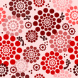 Vector floral background - seamless pattern in red
