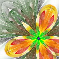 Beautiful fractal flower in green and yellow. Computer generated