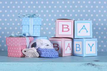 Baby nursery bootie, dummy pacifier and baby letters pink and bl