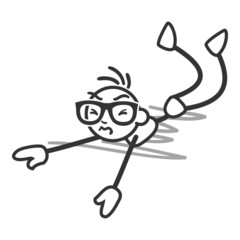 Stickman, fall, lying on the floor