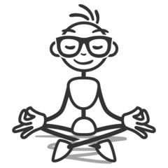 Stickman, meditating, yoga, lotus position