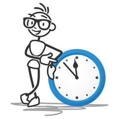 Stickman, clock, time, pointing