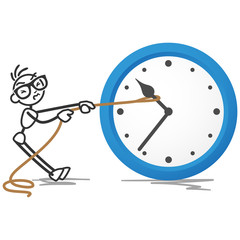 Stickman, clock, turning back time, rope pulling