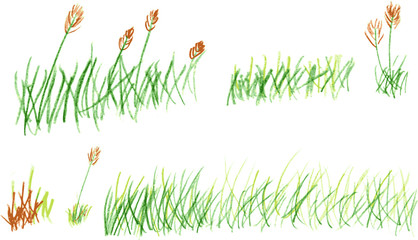 hand draw sketch, grass