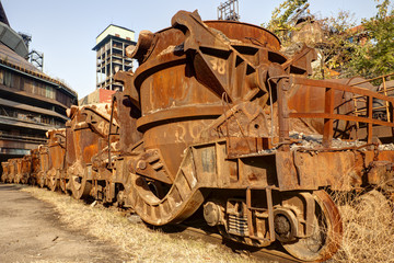 Rusty train at abandoned steel mill