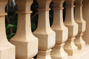 Vintage concrete colonnades.