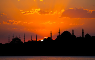 Blue Mosque and Hagia Sophia in Istanbul from Marmara Sea