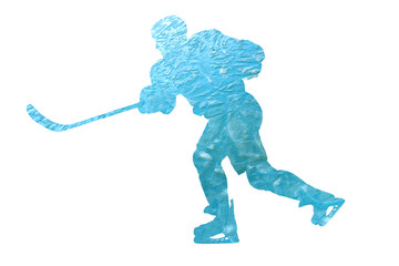 Silhouette of a hockey player filled with ice.
