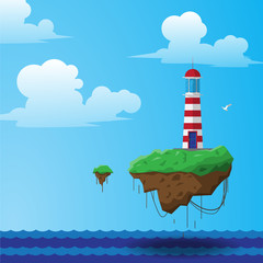 flying lighthouse illustration