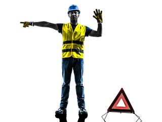 accident detour deviation man silhouette