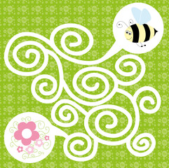 bee maze for kids on square background - vectors