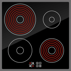 Kitchen Electric hob with ceramic surface and touch control