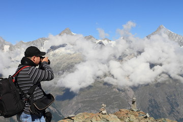 landscape photographer on the Alps
