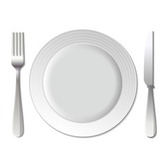 Dinner plate, knife and fork. .