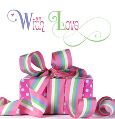 Beautiful candy color gift with sample text
