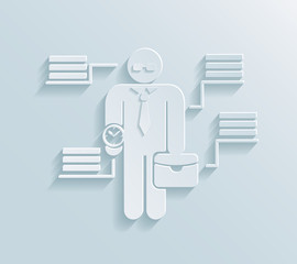 Flat paper businessman icon