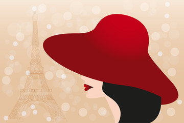 Red hat and black hair girl and Eiffel tower - Stock Illustratio