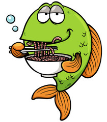 Vector illustration of Cartoon Fish eating