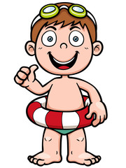 Vector illustration of Boy swimming