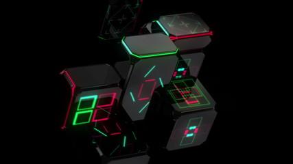 неоновые  квадраты