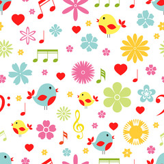 Flowers birds and music notes seamless pattern