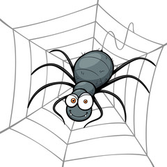 Vector illustration of Spider in a Web