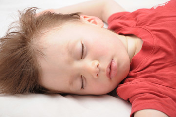 White caucasian European kid sleepping 3 years old