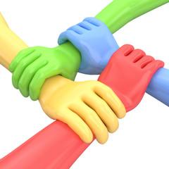 bunte Hände Zusammenhalt