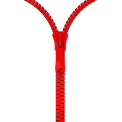 Red open zipper, 3d