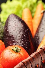 Close-up on a basket full of vegetables