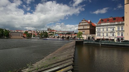View of Novotny footbridge in Prague