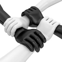 vier Hände schwarz weiss Zusammenhalt