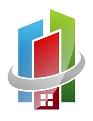 real estate logo building house pro solution living