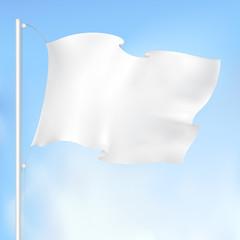 white waving flag , vector drawing