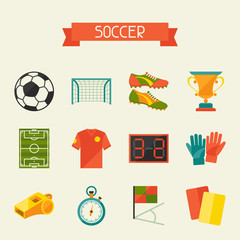 Soccer (football) icon set in flat design style.