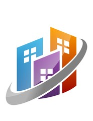 real estate logo building simple house pro solution icon symbol