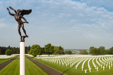 American military cemetery with angel statue
