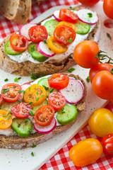 Brot mit Quark und frischem Gemuese
