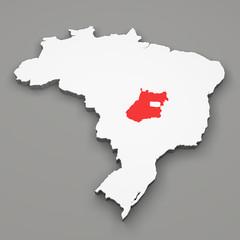 Mappa Brasile, divisione regioni, Goias