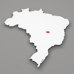 Mappa Brasile, divisione regioni, Distrito Federal