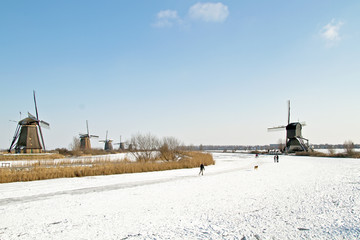 Ice skating at Kinderdijk in the Netherlands