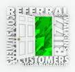 Referral Business Word of Mouth Customers Sales Growth Door
