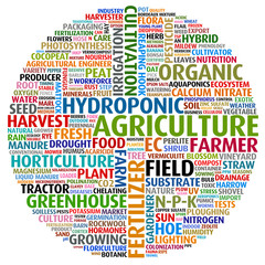 Agricultural words collage