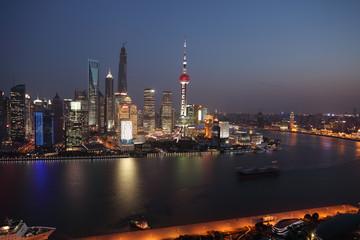 Aerial photography Shanghai skyline at night