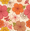 Seamless floral background with autumn flowers and leaves