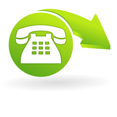 téléphone fixe sur web symbole vert