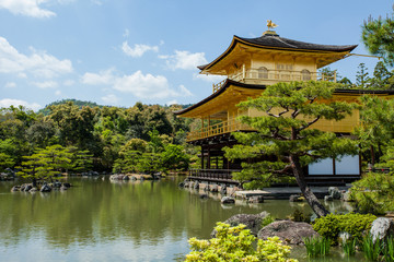 Famous Golden Pavilion Kinkaku-ji in Kyoto Japan